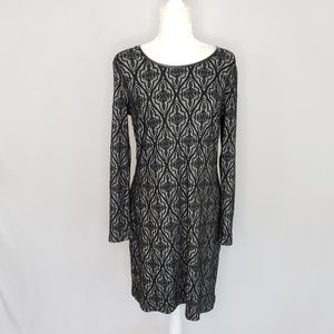 INC Intl Concepts black and gray knit dress Large